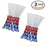2 Pack Basketball Net by Miracol, 12 Loops, Professional Polyester Outdoor & Indoor Basketball Net Replacement, Heavy Duty for All-Weather, White/Red/Blue