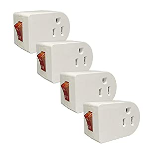 Oviitech Grounded Outlet Wall Tap Adapter with Red Indicator On/Off Power Switch (4Pack)