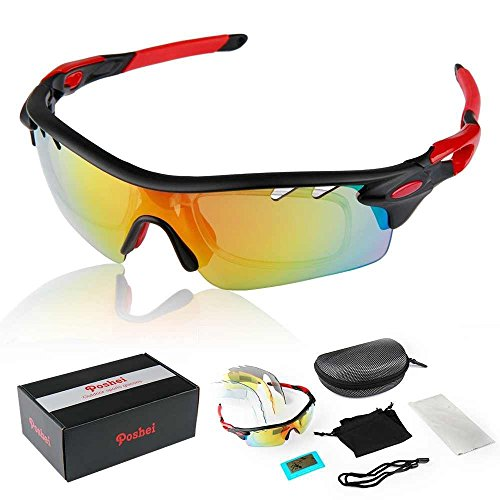 Black Frame Multi Sport Outdoor Running Cycling UV400 Polarized Sunglasses Goggle Changeable 5 Lenses Glasses Complete Set + Carrying Case with - Changeable Sunglasses