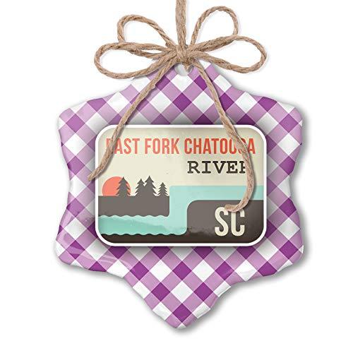NEONBLOND Christmas Ornament USA Rivers East Fork Chatooga River - South Carolina Purple Plaid