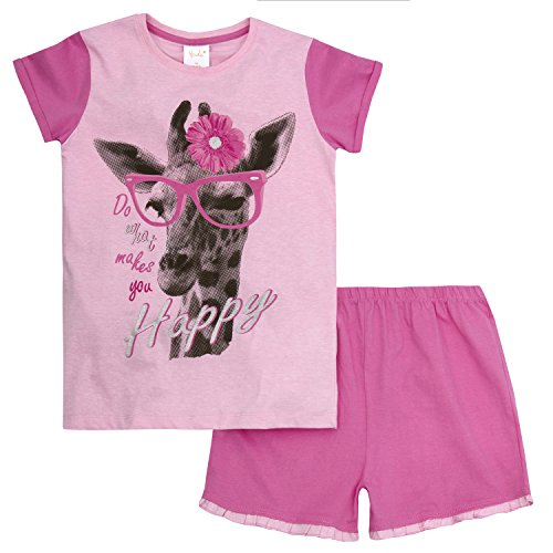 Price comparison product image 4KIDZ Girls Novelty Glitter Summer Pajama Set 2 Piece Cotton Blend PJ Top and Shorts