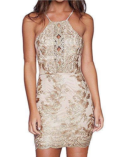USGreatgorgeous Womens Sexy Sequin Glitter Backless Sleeveless Bodycon Party Halter Neck Stretchy Mini Clubwear Dress (M, Gold)
