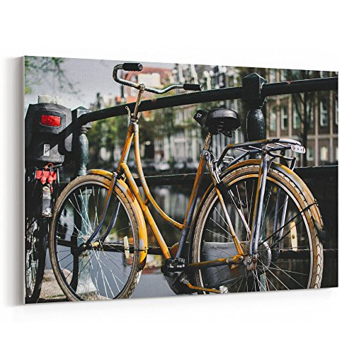 (Westlake Art - Bike Fence - 12x18 Canvas Print Wall Art - Canvas Stretched Gallery Wrap Modern Picture Photography Artwork - Ready to Hang 12x18 Inch (6B21-6801D))
