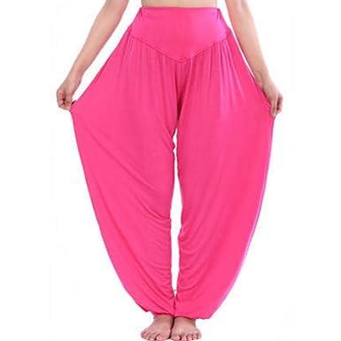 DGHFBD Pantalones Anchos de Mujer Pantalón de Yoga Modal ...