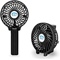 Powshop Multipurpose Collapsible Portable Handheld Fan Rechargeable Battery Operated Cooling Fans Outdoor with 18650 Battery Foldable Clip Fan Desktop Fan (Black)