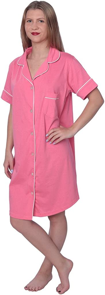 Beverly Rock Womens Soft Jersey Knit Cotton Blend Button Down Sleepshirt Pajama Top with Piping Finish
