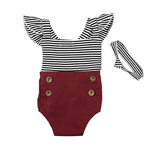KIDSA 0-2T Baby Girl Summer Vintage Striped Romper Jumpsuit With - Headbands Baby Vintage