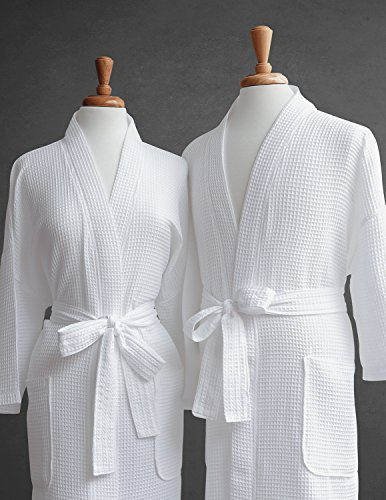 Luxor Linens Egyptian Cotton His & Hers Waffle Robes - Perfect Engagement Gifts! (Two Robes with Gift Packaging, Custom Monogram)
