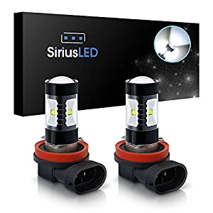SiriusLED Extremely Bright 30W LED Bulbs with Projector for Fog Lights Daytime Running DRL Driving H11 6000K Xenon White
