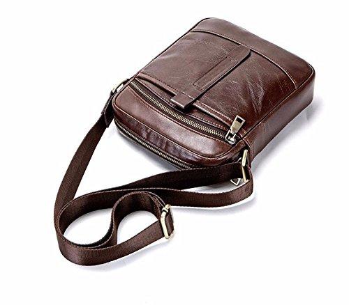 Satchel los Enkephalin Brown de 24 bolso de Surnoy Male hombro La Casual pulgadas Bag vertical los Brown moda hombres hombres de cuero Encefalina solo de qXwqTBS