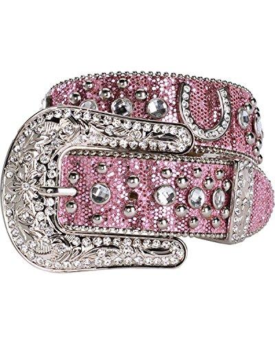 Nocona Girls' Glittery Horseshoe Concho Western Belt Pink 18 - Nocona Concho