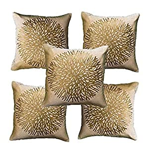 IMFAB Gold Print Beige Velvet Cushion Covers '40X40cm' or '16X16inches' (Set of 5 pcs)