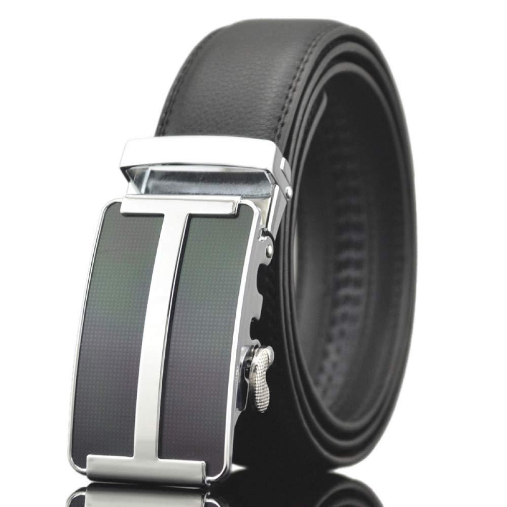 DENGDAI Mens Leather Belt Automatic Buckle Belt Leather Belt Length 110-130cm