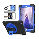 iPad 9.7 2018 2017 Case - ZERMU Heavy Duty Three Layer Shockproof Rugged Cover Hard PC+Silicone Hybrid Impact Resistant Armor Case with Built-in Stand+Hand Strap+Shoulder Strap for iPad 6th Generation