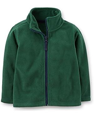 Carter's Little Boys' Microfleece Zip Front Jacket (2T, Dark Green)