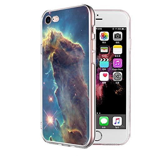 Owa UV Printing Case for iPhone 7|8, Shock-Absorption Bumper Cover, Anti-Scratch Clear Back, HD Clear - Outer Space