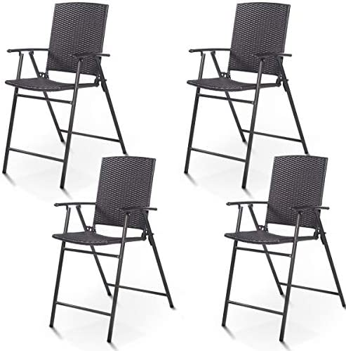 Casart Folding Wicker Rattan Bar Chairs Set of 4 Tall Stool with Back,Steel Frame,Armrests and Footrest Bar Stools Garden Patio Furniture Set