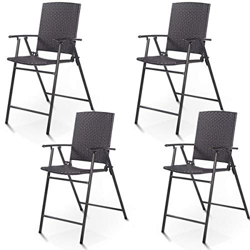 - Casart Folding Wicker Rattan Bar Chairs Tall Stool with Back Steel Frame UV Resistant Barstools Garden Patio Furniture Set w/Armrests Footrest