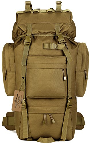 ArcEnCiel 65L Waterproof Tactical Giant Hiking Camping Backpack with Rain Cover (Coyote Brown) - External Internal Frame Backpacks