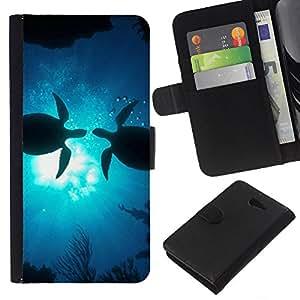 KLONGSHOP // Tirón de la caja Cartera de cuero con ranuras para tarjetas - Tortugas del amor del océano sol subacuático azul - Sony Xperia M2 //