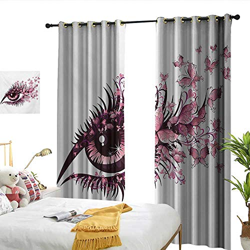 WinfreyDecor Butterflies Thermal Curtains Fairy Female Eye with Butterflies Eyelashes Mascara Stare Party Makeup 70%-80% Light Shading, 2 Panels,W96 x L84 ()