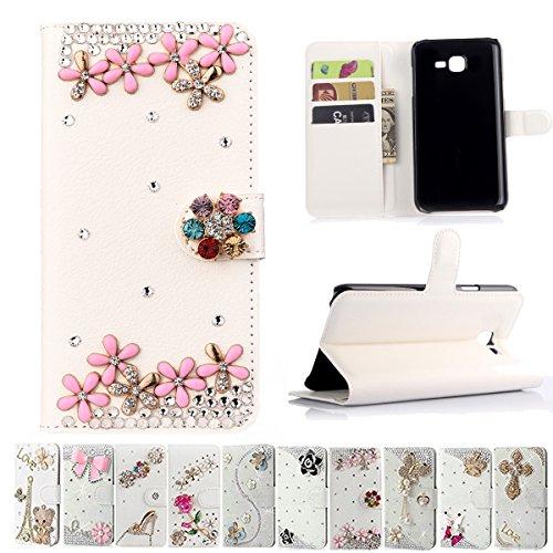Samsung Galaxy J7 2017 Case,ZHFLY Cute Handmade Bling Crystal Rhinestone Diamond Protector PU Leather Wallet Gift Popular Protective Flip Cover for Samsung Galaxy J7 Sky Pro,J7 Perx(Pink Flower)