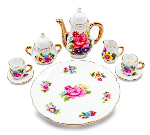 10pc Miniature Toy Tea Set w/ Gold Trim Teapot Cups Creamer Saucers and Plate