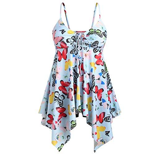 Womens Sexy Swimwear Butterfly Print Plus Size Halter Flowy Layered Swimdress Slim Tankini Swimsuit (Multicolor, 5XL)