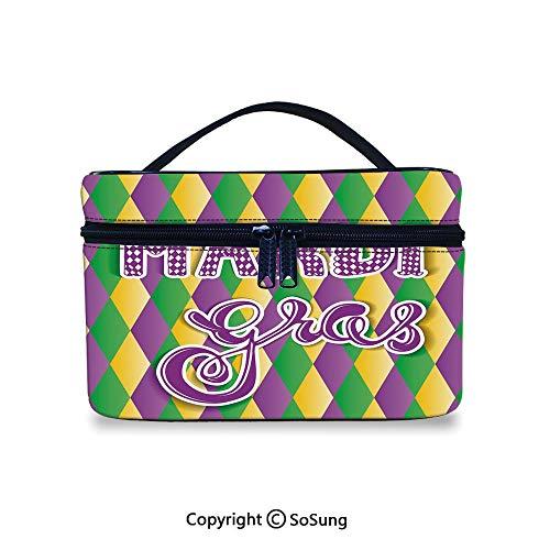 Mardi Gras Leather Cosmetic Bag Stylized Mardi Gras Lettering on Classical Diamond Line BackdropHandbag With Zipper,9.8x7.1x5.9inch,Violet Fern Green Marigold (Mardi Gras Line Melamine Dinnerware)