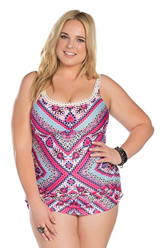 Becca-ETC-Womens-Plus-Size-Secret-Garden-Shirred-One-Piece-Swimsuit-1X-BeccaEtc16Mlt