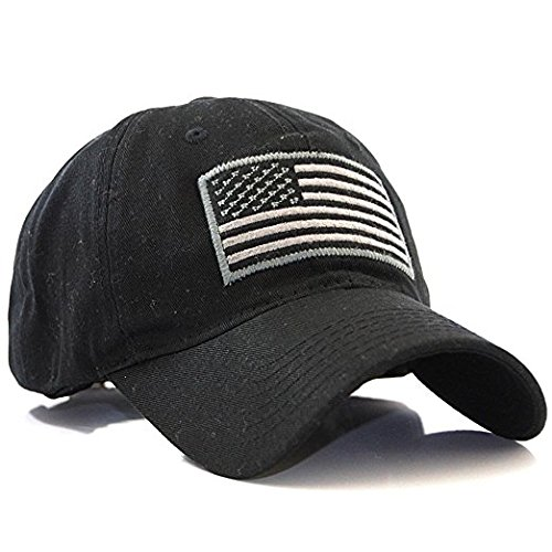 Adjustable Womens Cap (USA American Flag Baseball Cap Military Army Operator Adjustable Hat (Black))