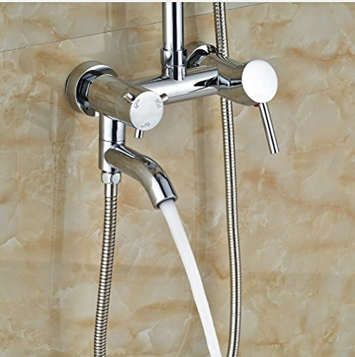 Gowe 10-in Chorme Polish Shower Set Bathroom Wall Mounted Single Handle Mixer Faucet Square Shower Head 3