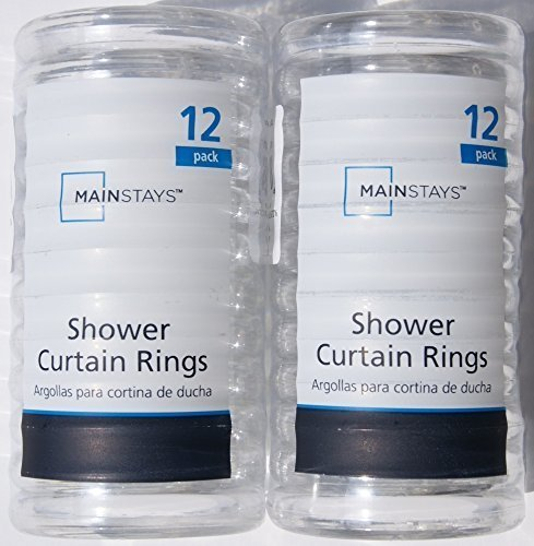 Basic Plastic Shower Curtain Rings - Clear - 2 Pack