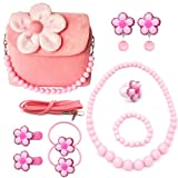 Elesa Miracle Little Girl Handbag Beauty Set Kids Plush Handbag + Flower-shaped Clip-on Earrings Rings Hair Clips and Hair Ties + Necklace and Bracelet Set (Pink)