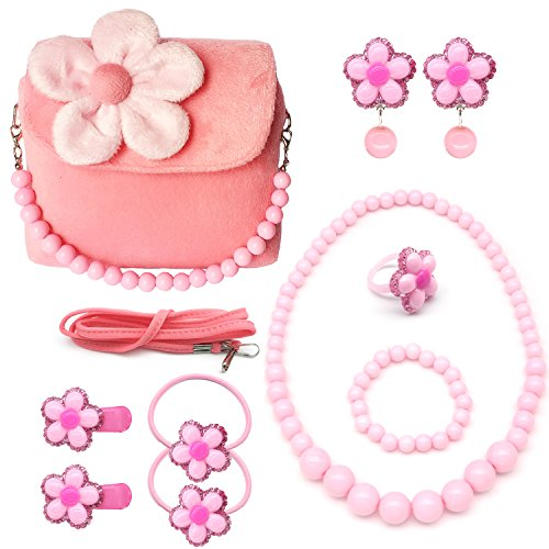Elesa Miracle Little Girl Handbag Beauty Set Kids Plush Handbag + Flower-shaped Clip-on Earrings Rings Hair Clips and Hair Ties + Necklace and Bracelet Set (Pink) (Toy Flowers Bag)