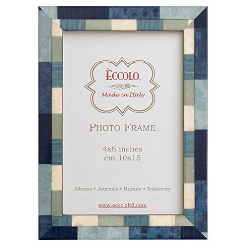 Eccolo Marquetry Frame, 8 by 10-Inch, Mixed Up Blue
