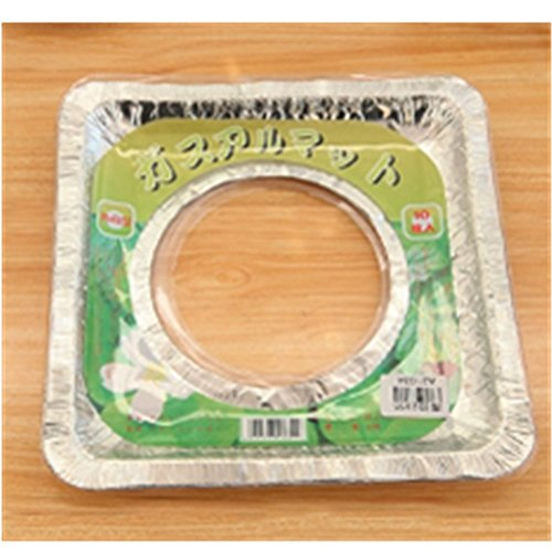 KAKA(TM 10 Pcs Aluminum Foil Square Gas Stove Gas Burner Disposable Bib Liners Covers(8.074.3inch)-Square