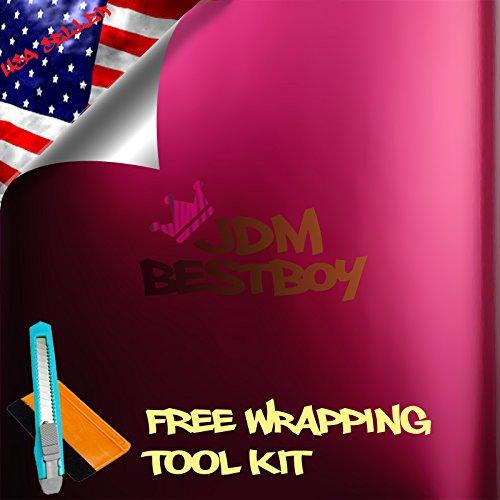 "Free Tool Kit Satin Matte Chrome Pink Vinyl Wrap Sticker Decal Bubble Free Air Release 12""x60"" (1FT x 5FT)"