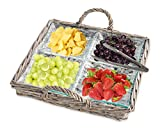 Beautiful 2 Piece Glass Relish Dish in Wicker Serving Tray, 4 Sectional Serving Platter for Appetizers, Veg. Sticks, and Dips, with S/S Serving Tong