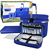 Deco Foldable Insulated Picnic Basket, w Plates, Glasses & Flatware - Keeps Food Cold or Warm for hours - Full Sized Set Folds down to 5 Inches