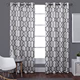 Exclusive Home Kochi Linen Blend Window Curtain Panel Pair with Grommet Top, Black Pearl, 54x108