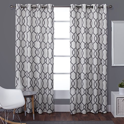 Exclusive Home Curtains Kochi Linen Blend Grommet Top Window Curtain Panel Pair, Black Pearl, 54x108 Top Window Panel