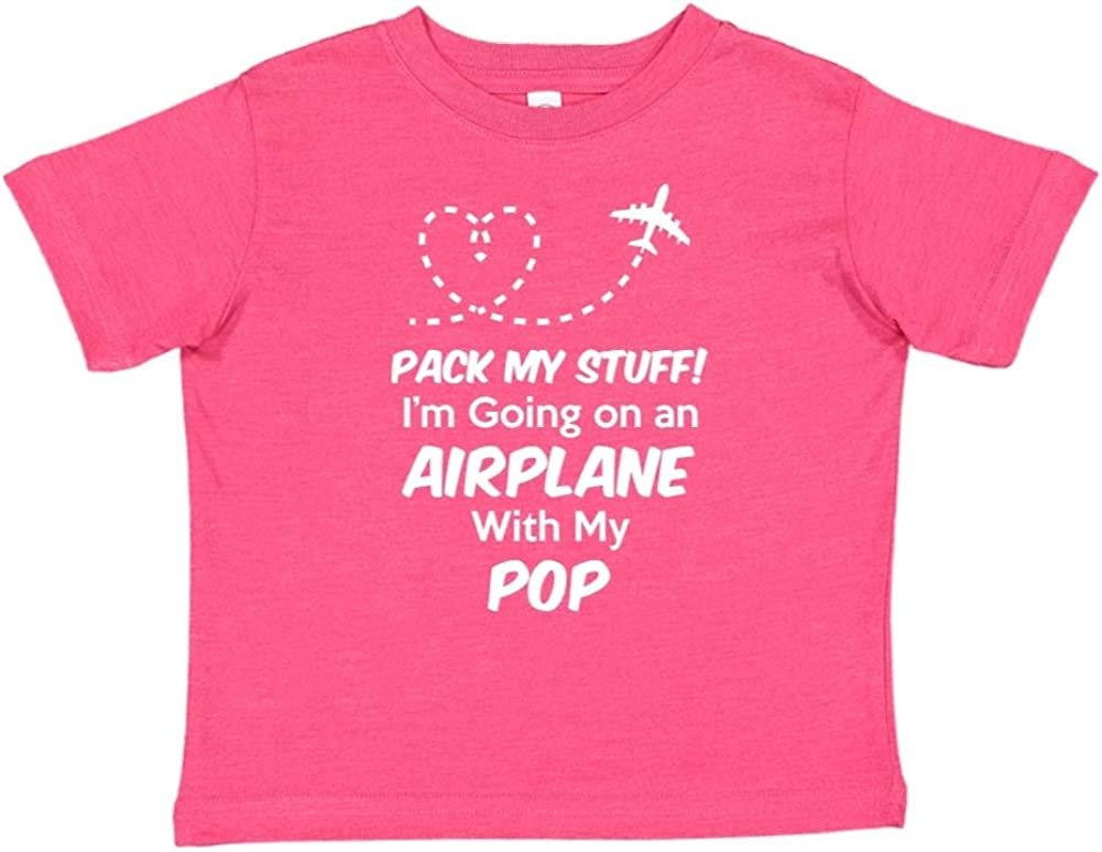 Toddler//Kids Short Sleeve T-Shirt Im Going On an Airplane with My Pop Pack My Stuff