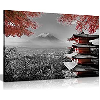 Japanese Temple in Autumn Black White Red Canvas Wall Art Picture Print (36x24in)