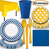Disposable Tableware, 32 Sets - Royal Blue and Sunflower Yellow - Scallop Dinner Plates, Dotted Dessert Plates, Cups, Lunch Napkins, Cutlery, and Tablecloths: Premium Quality Party Supplies Set