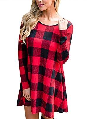 AlvaQ Women Loose Long Sleeve Checkered Plaid Swing T-Shirt Dress