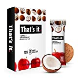 That's it. Apples + Coconut 100% Natural Real Fruit Bar, Best High Fiber Vegan, Gluten Free Healthy Snack, Paleo for Children & Adults, Non GMO Sugar-Free, No preservatives Energy Food (12 Pack)