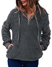 LIVACASA Sweatshirt voor dames, winter, warme hoodie, zacht meisjes, oversized, teddy fleece, pullover met capuchon, pluizig wintertrui, sweater met lange mouwen, trui met 2 zakken