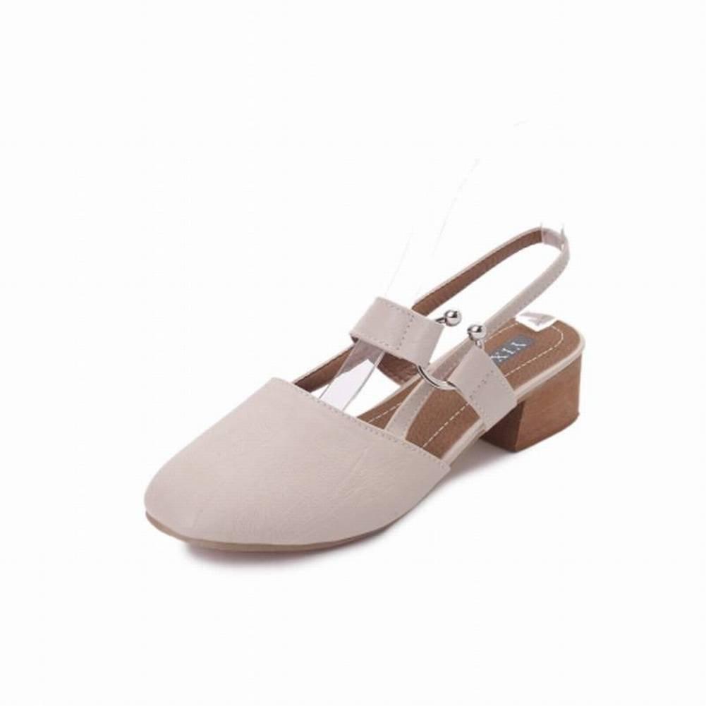 Retro Abend Frauen Joker Square Dick mit Einzelnen Schuhe Frauen Baotou Word Button Sandalen Frauen Mode Sandalen...  37 Beige beige