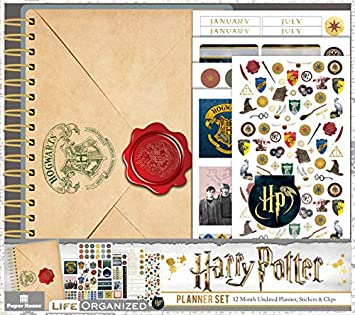 Paper House Productions PLS1000 Harry Potter 12 Month Mini Planner Set includes Stickers Magnetic Clip
